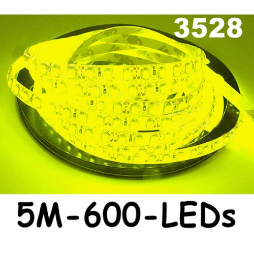 New 5M Car Yellow 3528 SMD LED Waterproof Strip 12V 600 LEDs
