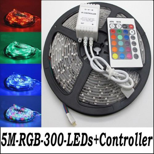 New 5M 3528 RGB Waterproof Flexible Strip 300 LED Light + IR remote controller