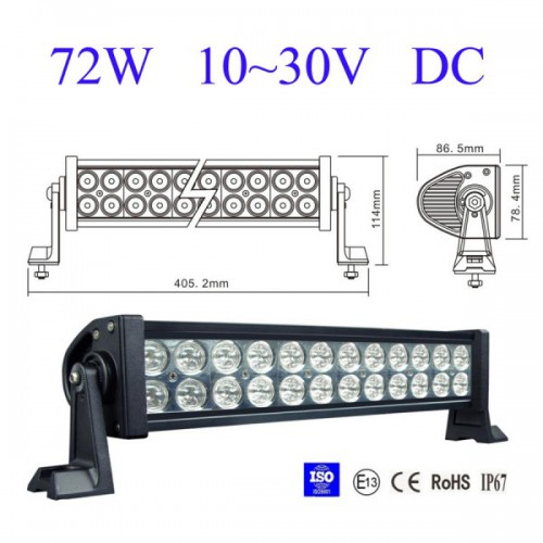 "2013 13.5"" 72W Led light bar FLOOD light SPOT light WORK light off road light 4wd boat White"