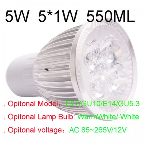 550LM 5W E27 GU10 E14 GU5.3 LED Light Lamp Bulb AC85-265V 110V 220V Cool Warm White=80W halogen