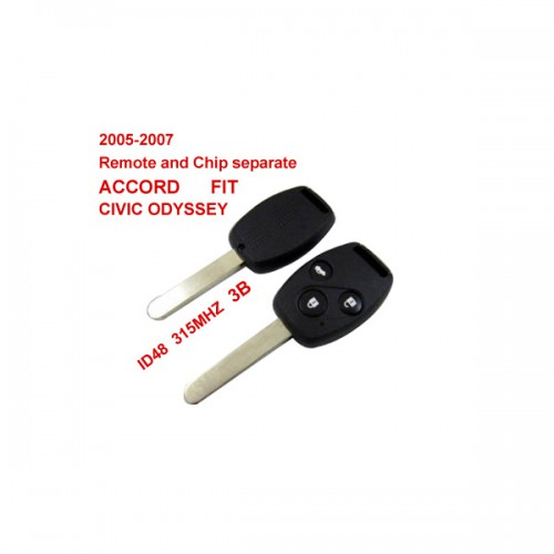 2005-2007 Remote Key 3 Button and Chip Separate ID:48(315MHZ) for Honda Fit ACCORD FIT CIVIC ODYSSEY