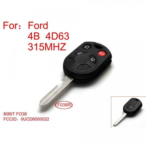 Remote key 4 Button 4D63-80BIT 315 Mhz for Ford