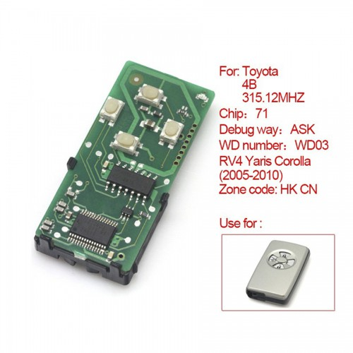 Smart card board 4 buttons 315.12MHZ for Toyota number :271451-0111-HK-CN
