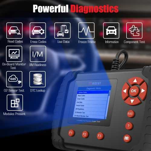 Vident iLink400 Scan Tool - Full System + Functions + Coding (Single Make) Support ABS/SRS/EPB//DPF Regeneration/Oil Reset