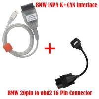 BMW INPA K+CAN Interface Diagnostic tool Plus BMW 20pin to obd2 16Pin Connector