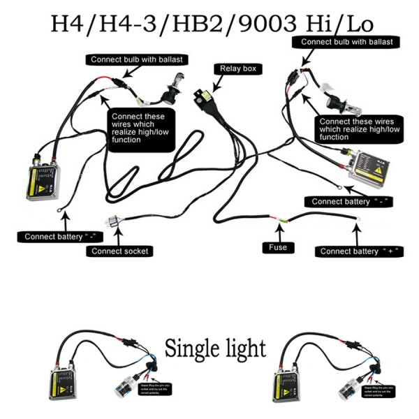35w ac hid kit bi xenon h4 h13 9004 9007 9008 12vHb1 9004 Hid Kit Wiring Diagram #13