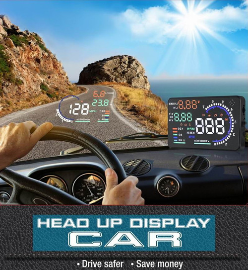 Large Screen Car HUD Head Up Display With OBD2 Interface Plug & Play A8