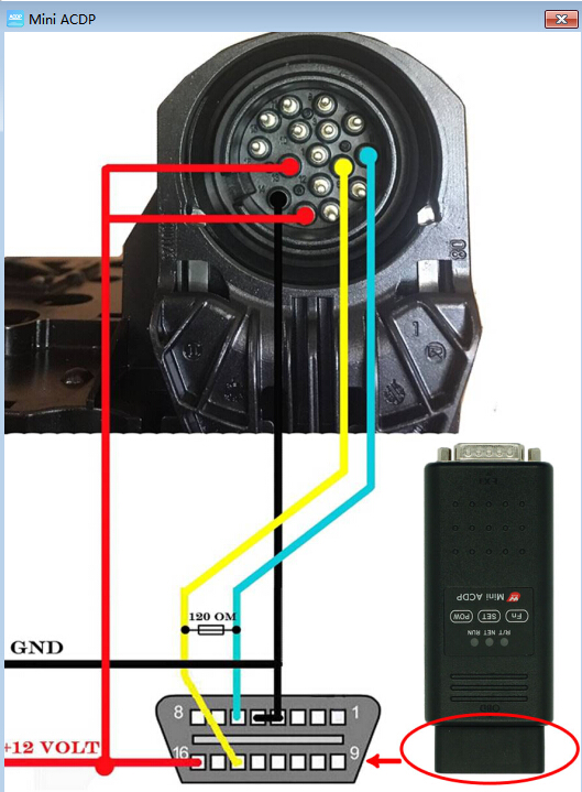 how to connnect the acdp and obd