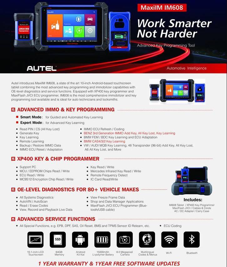 Original Autel MaxiIM IM608 ADVANCED IMMO & Key Programming with J2534 ECU  Programmer Perfect Replacement of AURO OtoSys IM600