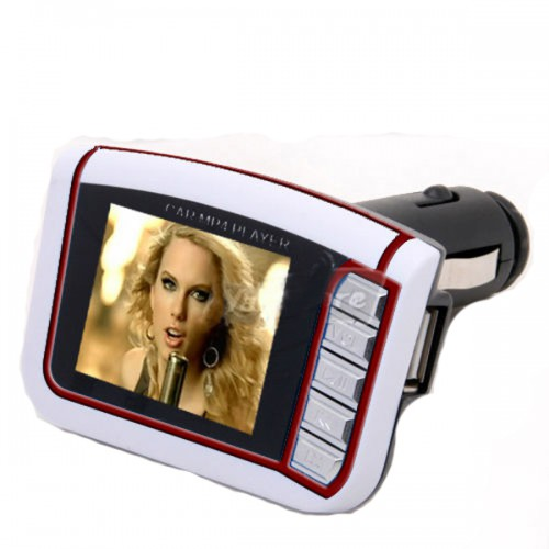 "White 1.8"" LCD Car MP3 MP4 Player FM Transmitter SD/MMC"
