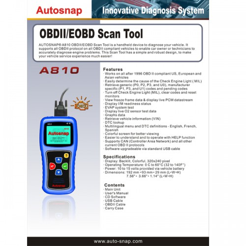Original Autosnap A810 OBDII EOBD Scan Tool multi-language