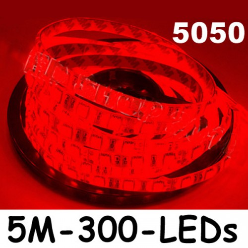 New 5M Car Red 5050 SMD LED Waterproof Flexible Strip 12V 300 LEDs