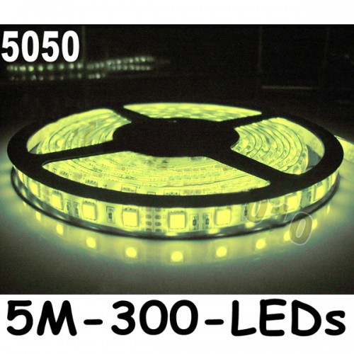 New 5M Car Warm White 5050 SMD LED Waterproof Flexible Strip 12V 300 LEDs