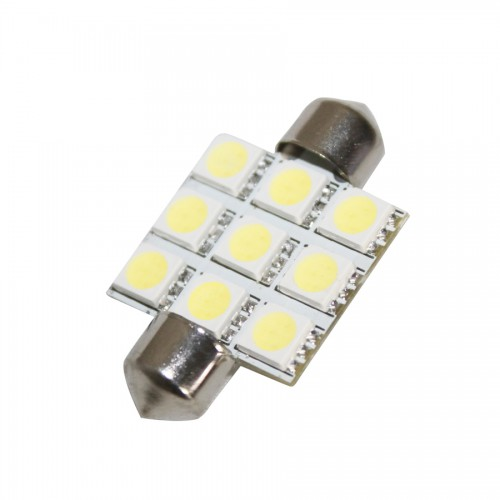 9 SMD 5050 LED Festoon Car Light Lamp 36mm 12V 10pcs/lot