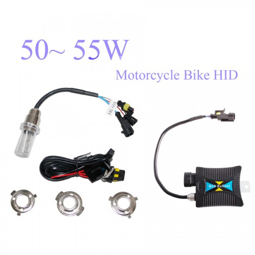55W 12V Motorcycle Bike HID High/Low Beam Bi-xenon Kit+Slim Ballast H1 H4 H6 6000K