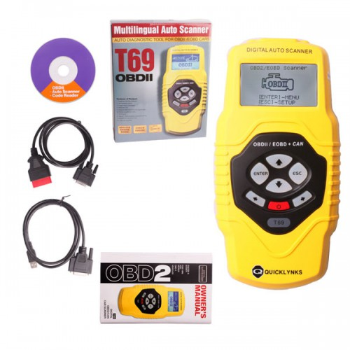 QUICKLYNKS OBDII Auto Vehicle Scanner Diagnostic Tool T69 (multilingual,updatable)