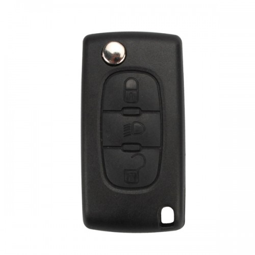Flip Remote Key Shell 3 Buttons for Peugeot ( Light Button and without Battery Location) 5pcs/lot