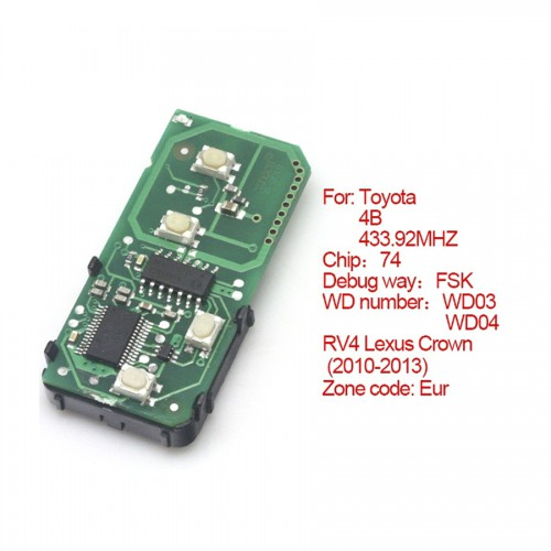 Smart card board 4 buttons 433.92MHZ for Toyota number :271451-5290-Eur