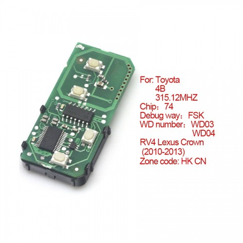 Smart card board 4 buttons 315.12MHZ for Toyota number :271451-5290-Eur