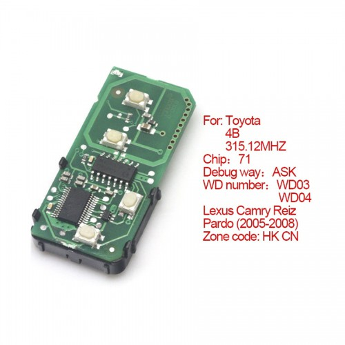 Smart card board 4 buttons 315.12MHZ for Toyota number :271451-0140-HK-CN