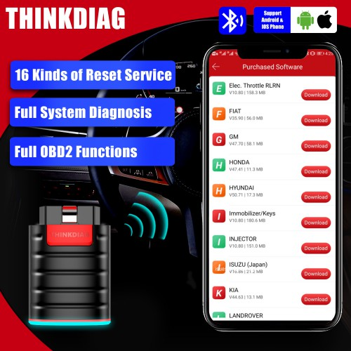 2020 Launch Thinkcar Thinkdiag OBD2 Full System with 3 Free Software and 16 Reset Service Better than Launch X431 Easydiag 3.0