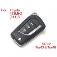 Modified Remote Key 4 Buttons 433MHZ for Toyota (not including the chip)