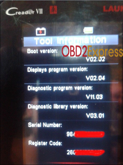 launch x431 vii code reader register update