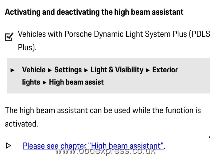 Enable Porsche 991 High Beam Assist using PIWIS Tester III 2