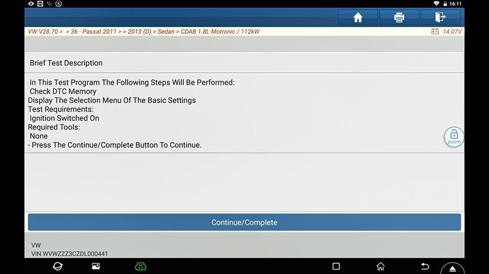 X431 PAD V guided function DSG Transmission Basic Setting for VW Passat